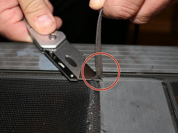 Trim off the excess spline using a razor blade.