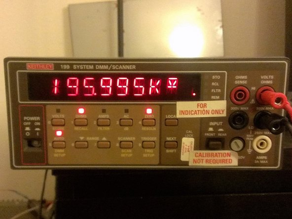 This is the Keithley 199. The buttons on front are simply labelled with most having at least two functions. The display is NICE and bright even after 25 years. It's much brighter than it looks here.