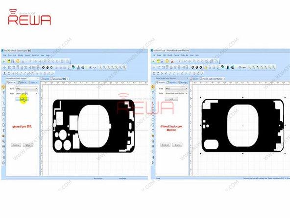 Placez la vitre arrière de l'iPhone 11 Pro sous la sonde pour faire la mise au point. Ensuite, placez la lunette arrière de l'iPhone 11 Pro sur le panneau de commande.