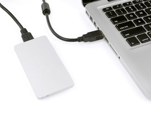 The drive is now ready to be connected to your computer with the included USB cable.