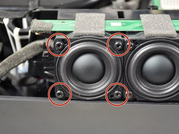 Remove the four 11mm T-10  screws from the individual speaker that needs replacement, by turning the screws counterclockwise.