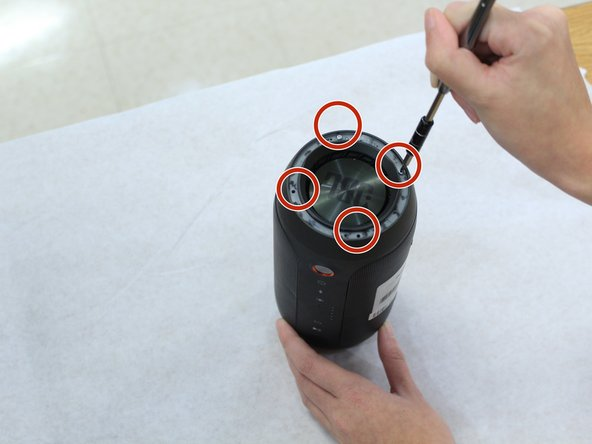 Remove the four 4.8mm Phillips #1  screws from each end of the device with the Phillips head screwdriver.