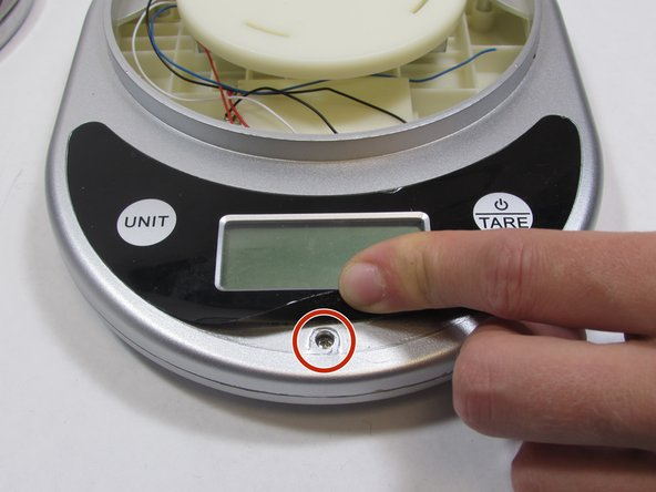 """Pry off the sticker at the bottom where the """"Ozeri"""" logo is to reveal a screw. The sticker does not need to be completely removed for the next step."""