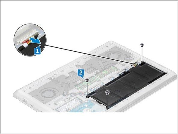 从主板上的连接器断开电池电缆[1]。