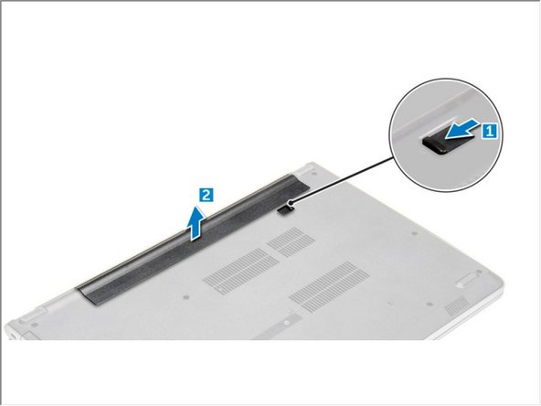 Slide the release latch to release the battery [1].
