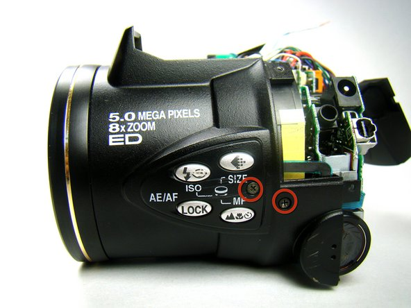 Remove the two screws on the left side of the camera.