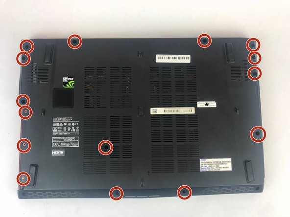 Remove the 15 screws from the bottom of the laptop with a PH1 screwdriver.