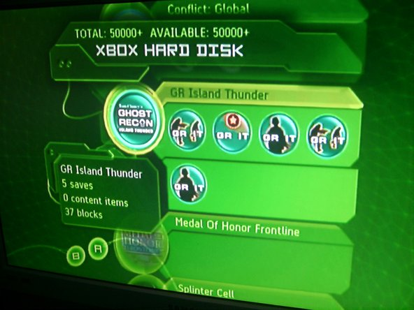 Here you can see the Xbox hard drive options. Select the save you want to delete, and hit A.