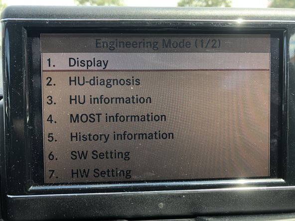 Here you can see the first page of Engineering Mode with the following menu items: