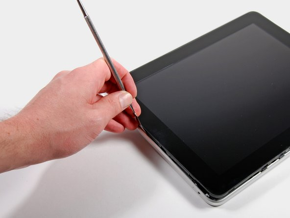Insert a metal spudger between the display and the rear case to pry the iPad open.
