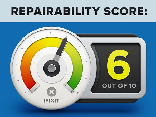 The iPhone X earns a 6 out of 10 on our repairability scale (10 is the easiest to repair):