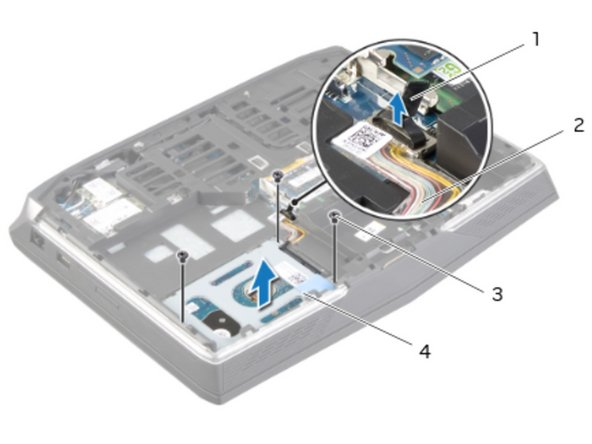 Replace the screws that secure the primary hard-drive to the primary hard-drive bracket.