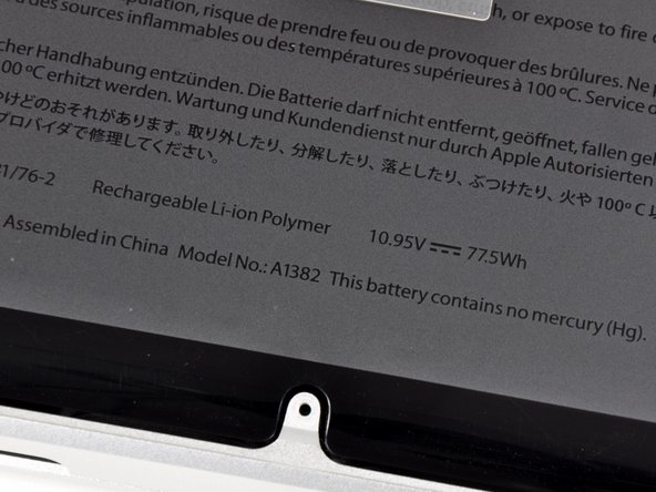 This machine boasts a 77.5 Watt-hour battery. That's the same capacity as the previous revision, but the reported battery life has gone from 8-9 hours to 7 hours. Has performance really decreased, or is Apple being more realistic with their estimates? We don't have 7 hours to wait and find out, so we'll have to leave that investigation to someone with a fully-assembled unit.