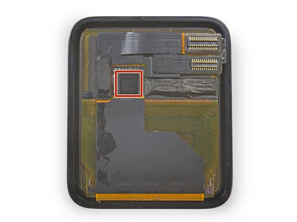 After removing the S1, we go back to the future, and the display panel, to find a lonesome chip: