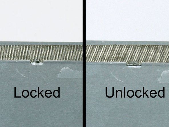 """The first frame shows a tab in the """"locked"""" position and the second frame shows the same tab in the """"unlocked"""" position."""