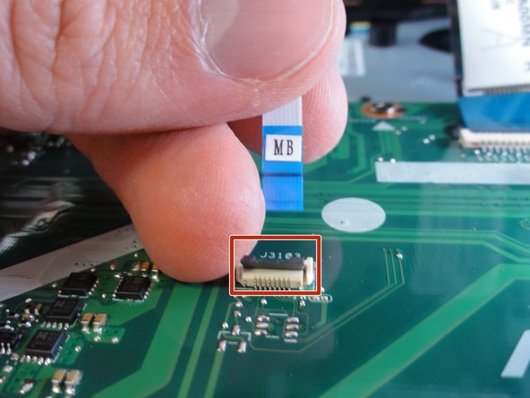 If you are only replacing the battery, you can skip this step and the next. Shift the keyboard module away from the display and set it such that the fragile flex cables are not strained.