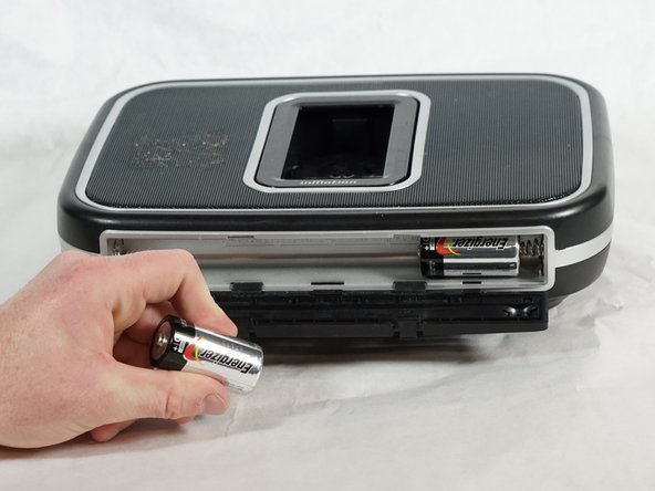 Once the door is open, use your hand to pull out the four batteries.