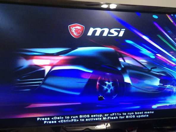 Close the computer and turn it on. When the MSI loading screen appears, press the Delete key. If the computer boots into Windows or Linux, you did not press the delete key fast enough. Turn the computer off and back on again. If you press delete fast enough, MSI Click Bios will start.