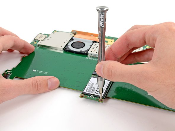 Unscrew the two screws on the mSATA SSD and remove the SSD. (Note: This image is from a first generation Surface Pro, but it works)