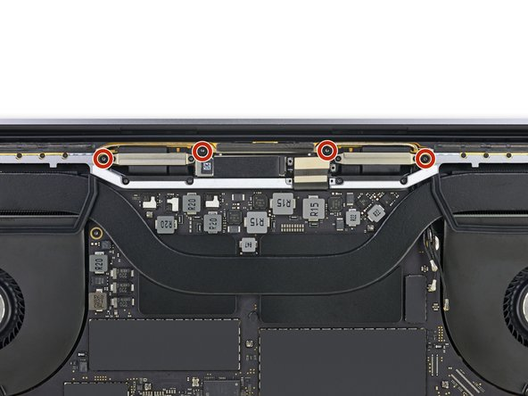 Use a T5 Torx driver to remove the four 3.3 mm screws securing the display board.