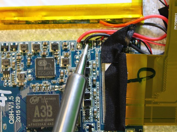 The soldering iron can destroy components on the motherboard. Only touch the soldering iron to the solder already on the board.