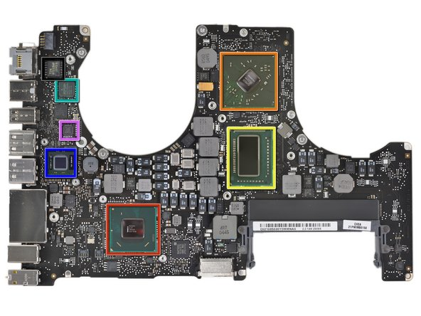 Front side of the logic board (gigantic version can be seen here):