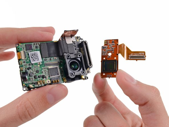 The image sensor pops off the motherboard assembly and can be replaced independently of the rest of the ICs. This Hero is gaining repairability cred left and right.