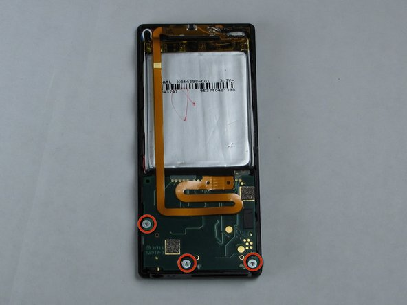 Remove the three screws (5.5mm by 3mm) from the backside of the Zune using a small Tri-Wing screwdriver.