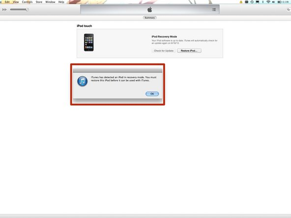 If you have done the previous steps correctly, the device shows up in iTunes in recovery mode.