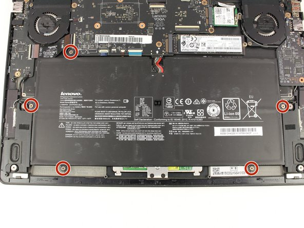 Remove the five 3.6 mm screws from the battery with a Phillips #00 screwdriver.