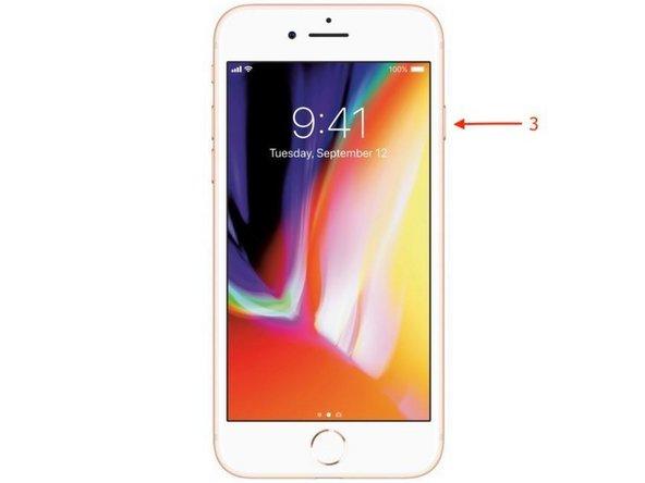 最後に、Appleのロゴが表示されるまでサイドボタン(3)を押し続けます。
