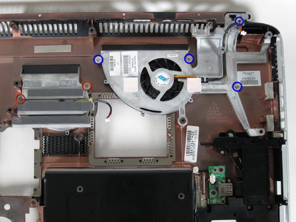 Unscrew the two 8mm Philips screws on both sides of the middle fan and remove them.