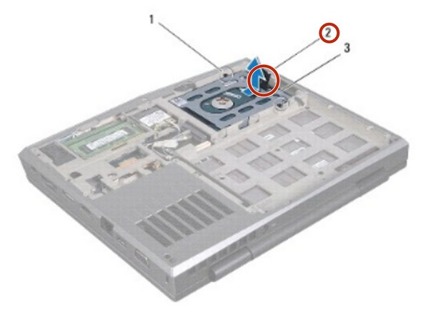 Use the pull-tab to push the hard drive assembly and connect it to the connector on the system board.