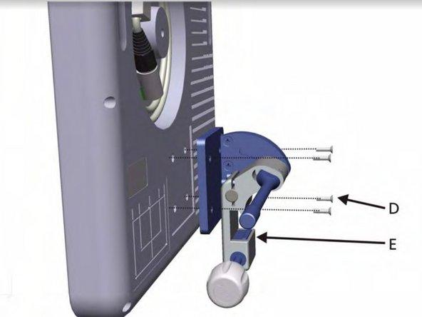 Remove the 4 screws (D)  to remove the panel's swivel mount (E).