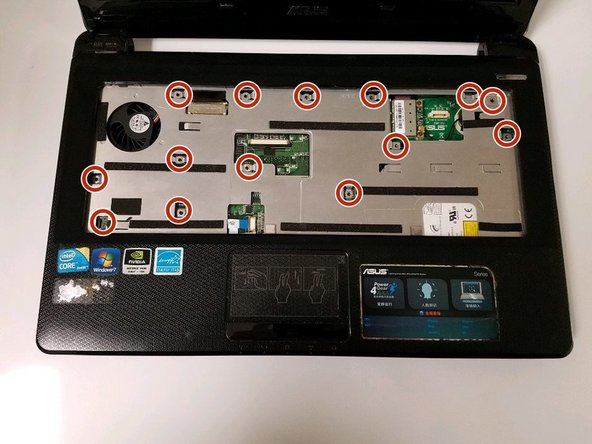 Rotate the laptop until it is sitting face up and extract all screws exposed by removing the keyboard.