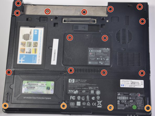 Remove all 13 screws from the back panel of the computer (includes the two torx screws under the battery and the two under the ram memory panel).