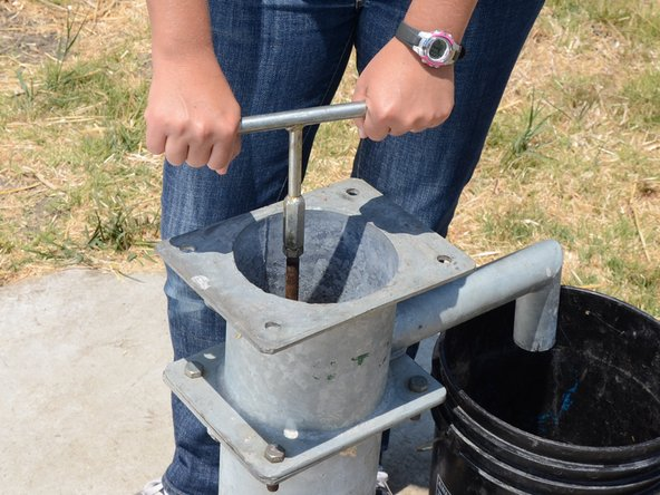 Use the T-handle to rotate the entire pump rod clockwise several full turns.