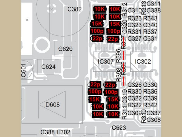 OPTIONAL: Install missing components. This requires purchase of additional components from mouser.com. See the guide parts list for more info. The image shows the location of the new components; you'll also need to install IC307.