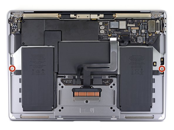 Use a T3 Torx driver to remove the two 2.6mm screws securing the battery tray to the case.