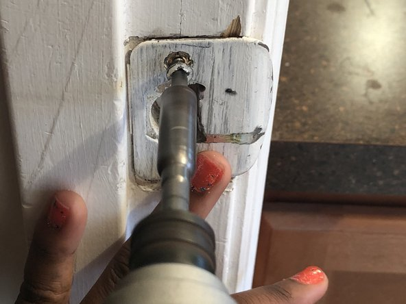 Using an electric drill, screw your strike plate into the wall.