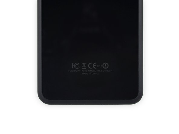 The information we glean from the rear case tells us our Fire Phone is a model SD4930UR.
