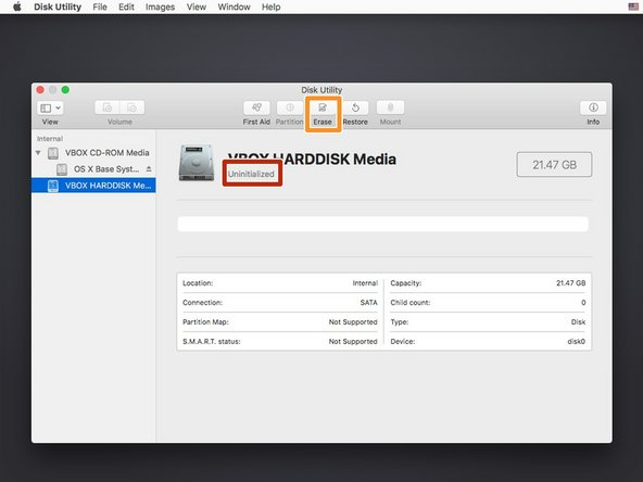 Select your hard drive from the left column in Disk Utility.