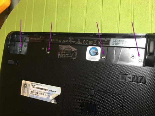 unscrew the 4 screws, purple arrow