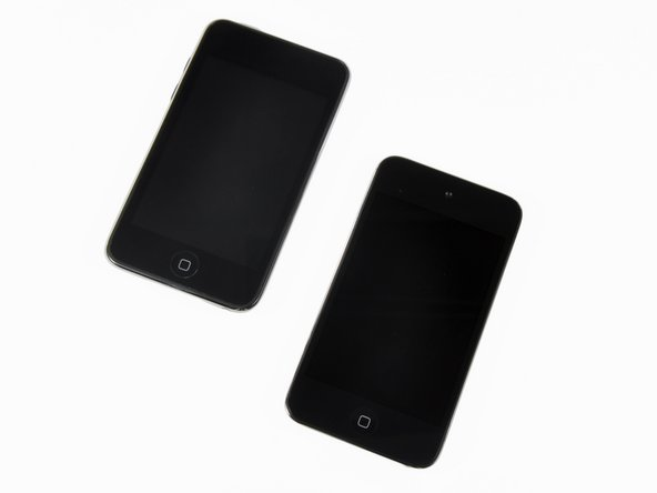 The new Touch (right) with its retina display doesn't look exceptionally remarkable in this shot.