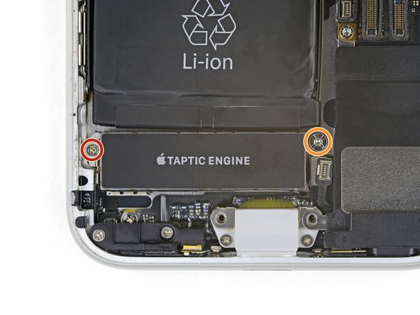 Remove the two screws securing the Taptic Engine: