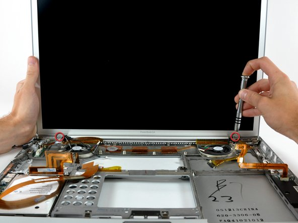 While supporting the display with one hand, remove the last two T6 Torx screws from the display hinges.
