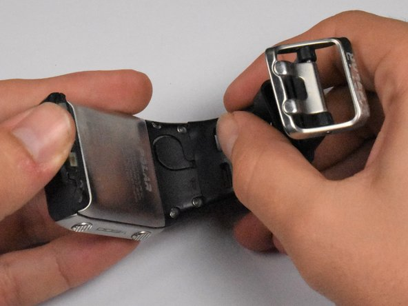 To remove the watch band, pull each end of the watch band away from the watch frame.