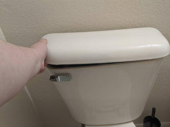Remove the lid from the tank of your toilet.