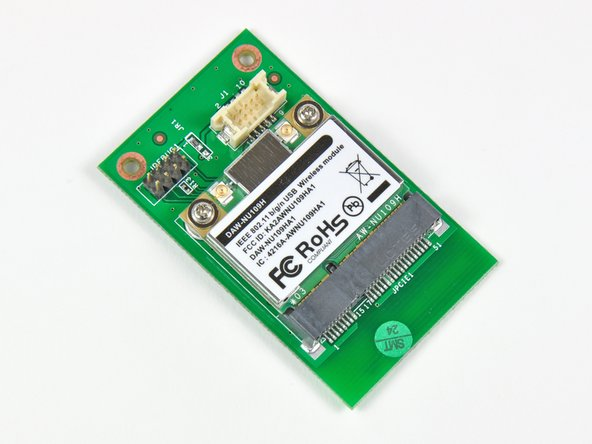 The wireless card assembly is composed of a Mini PCI-E wireless card and an interconnect board where the cable from the motherboard is connected.