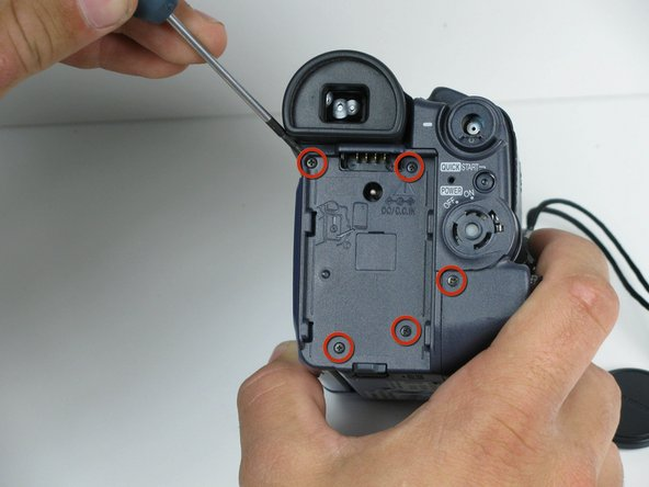 Rotate the camcorder so that the eye piece is facing you.
